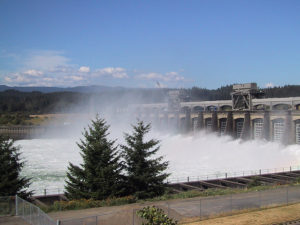 Bonneville Dam in the Columbia River Gorge