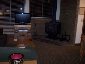 Whispering Woods Resort 2 Bedroom Loft Living Room Woodstove